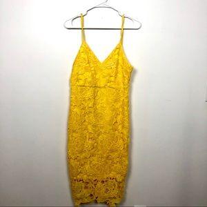 Yellow lace boohoo dress